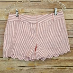 Loft Outlet Seersucker Pink & White Striped Shorts